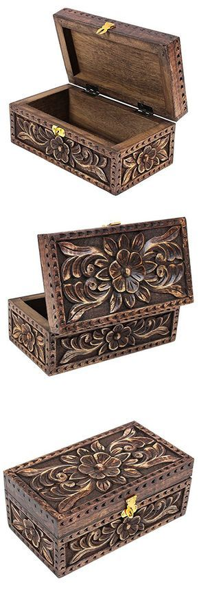 Handmade Wooden Jewelry Keepsake Box Dressing Table Accessory Organizer