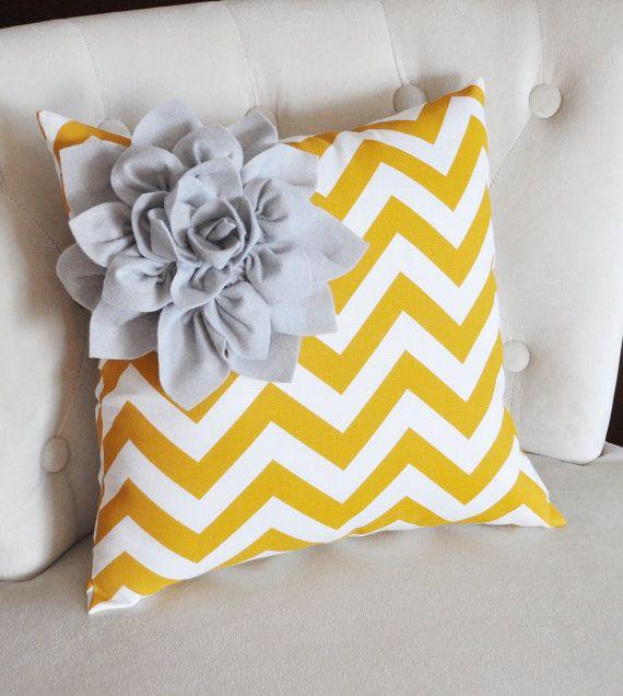 Gray Corner Dahlia on Mustard and White Zigzag Pillow 14 X 14 -Chevron Flower Pillow- Zig Zag Pillows.