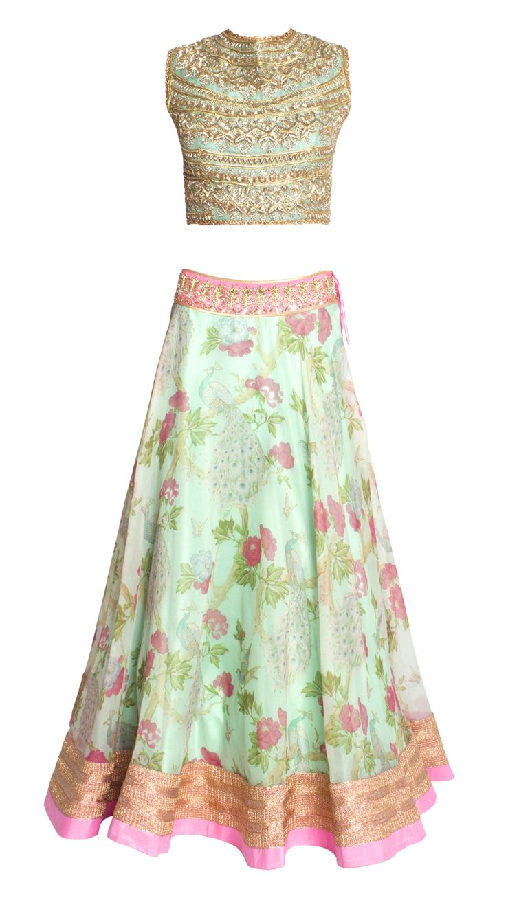 Buy Anushree Reddy's Blue Organza Peacock Printed Lehenga Online - Jiva
