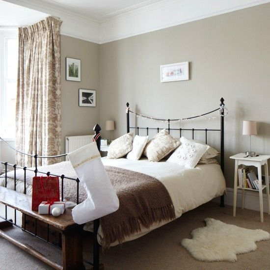 Pale sage green would tone in with the olive velvet bed and also the tweed tartan curtains. Would consider putting in a picture rail too as I like the white above.