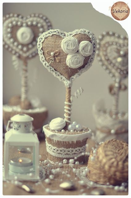 Wood - Valentine #burlap # lace #topiary