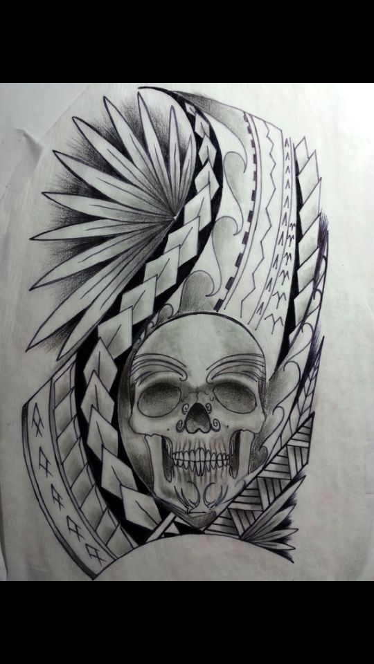 Polynesian Tattoo With Warrior Skull