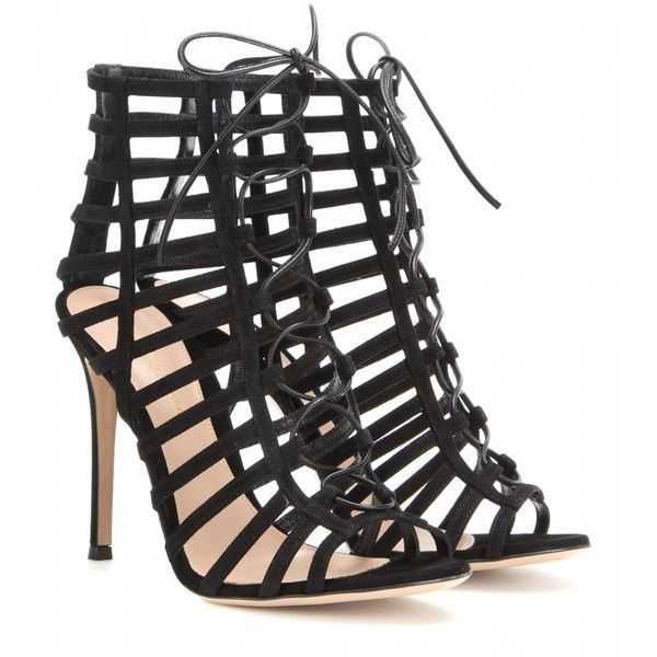 Gianvito Rossi Lace-Up Suede Sandals ($665) ❤ liked on Polyvore featuring shoes, sandals, heels, sapatos, high heels, black, lace-up heel sandals, black lace up sandals, black sandals and black suede shoes
