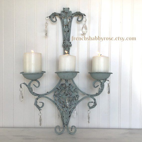 French Country Wall Sconce Home Accent Shabby Style Candle Etsy Shabby Chic Candle Sconces Candle Wall Sconces Wall Candles