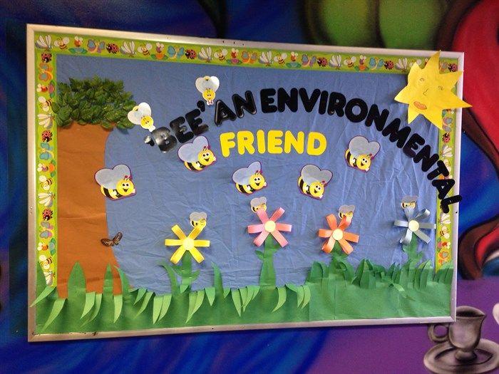Fun bee themed environmental bulletin board idea. Check out the details here --> http://www.mpmschoolsupplies.com/ideas/7126/bee-an-environmental-friend-bulletin-board-idea/