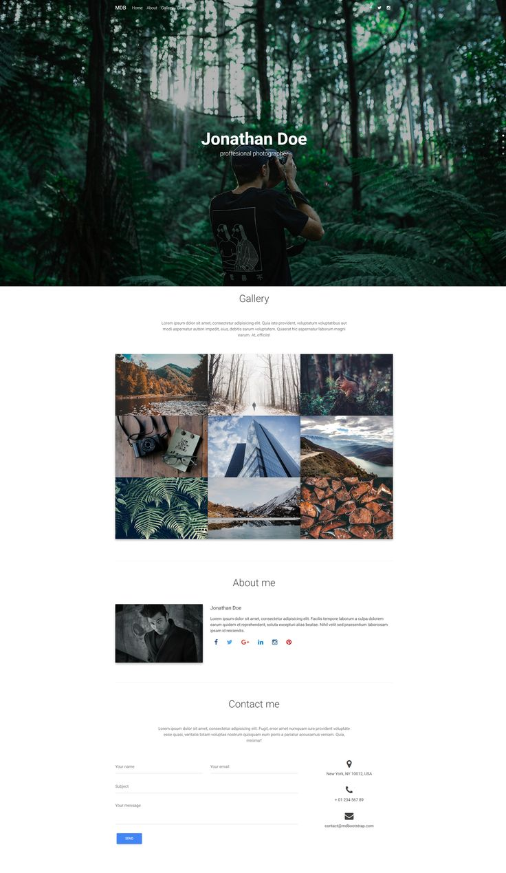 Created with Material Design for Bootstrap, Photographer Portfolio