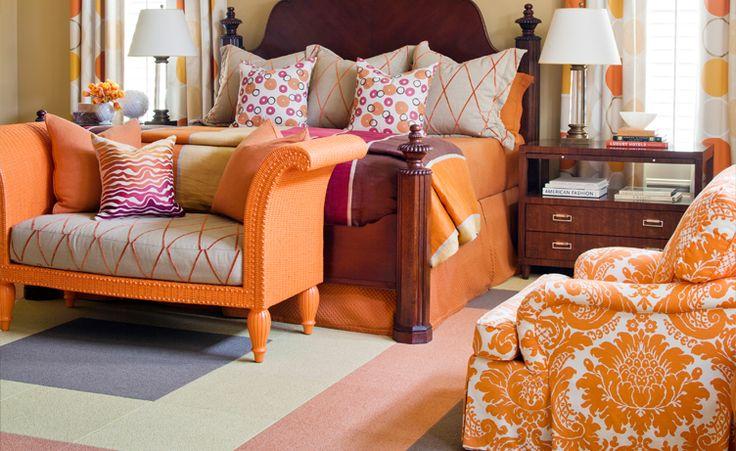 #tobifairley #orange #damask #carpettiles #interiordesign