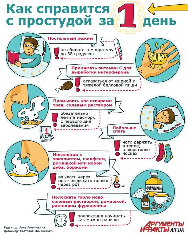 Как вылечить простуду за один день. Инфографика (Если вовремя взяться за дело, то легкая простуда пройдет за 6 часов, а полностью восстановиться можно за 48 часов)