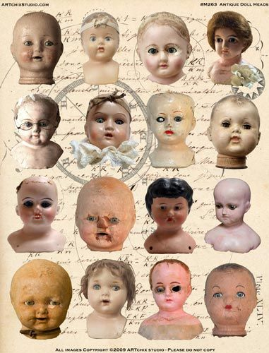free collage sheets to print   ARTchix Studio: M263: Collage Sheet - Antique Doll Heads