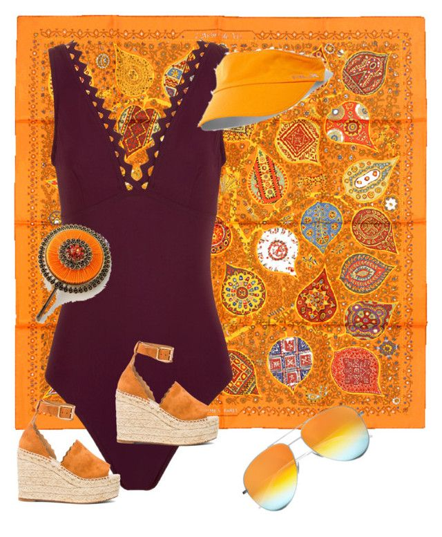 """Wine & Orange"" by omolina on Polyvore featuring Hermès, Karla Colletto, Chloé, Yves Saint Laurent y Sara Attali"