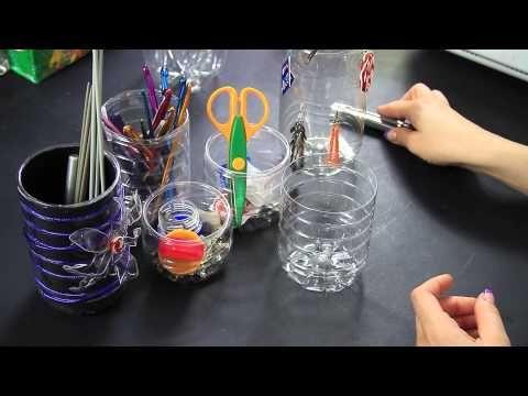 Come riciclare bottiglie di plastica: l'Astuccio porta penne e pennelli - Riciclaggio Creativo DIY - YouTube