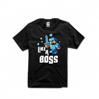 Minecraft Like A Boss Cotton T-Shirt Apparel | IdolStore