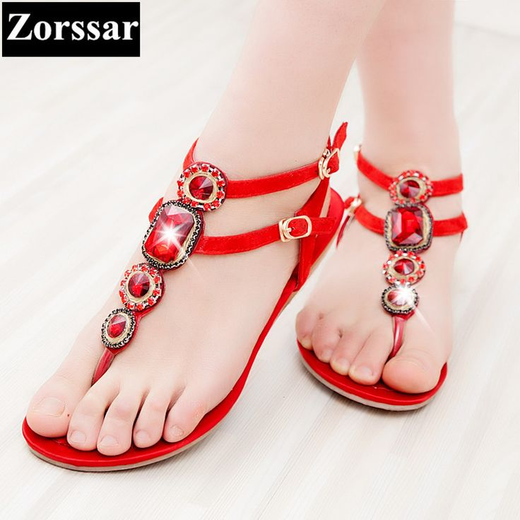 Zomer Vrouw Schoenen mode strass platte sandalen vrouwen slippers slippers 2017 NIEUWE lederen womens Slides Strand schoenen