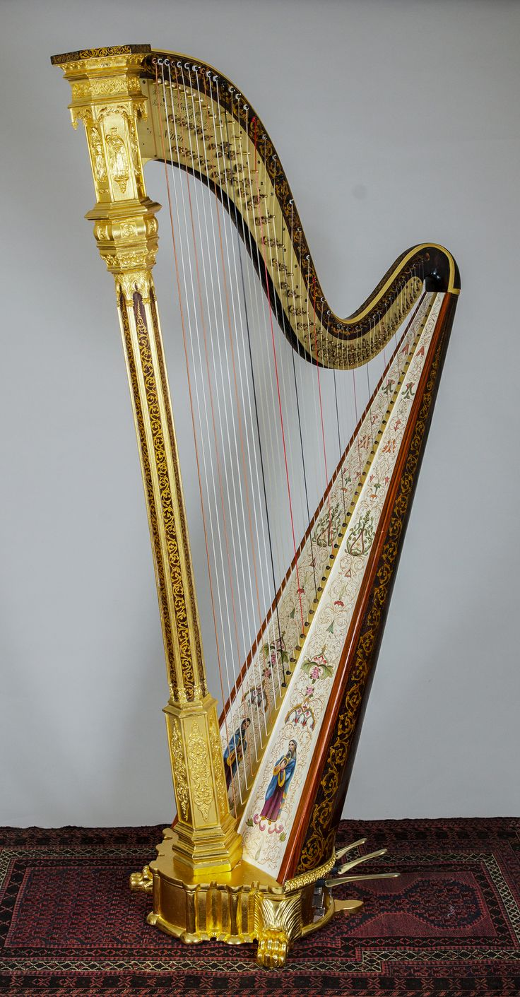 Ornate double action Gothic harp by R & L Lewis (New York, mid-1800's), restored by H. Bryan & Co.