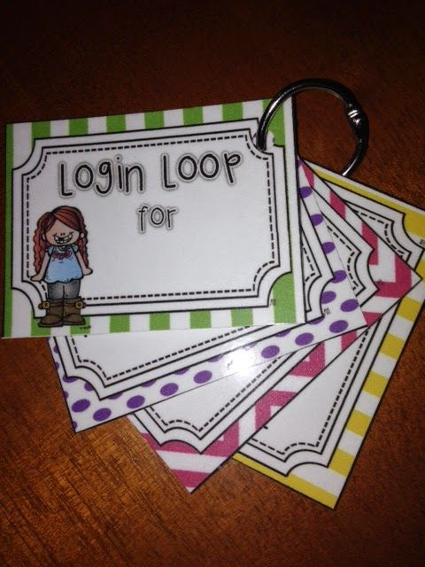 Log-in loop for students to keep track of their google, IXL, class website, computer, and other log ins
