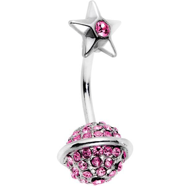 Pink Gem Rings of Saturn Planet and Star Double Mount Belly Ring