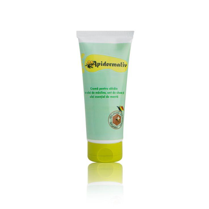 Heel cream  mint oil, royal jelly, olive oil Apidermaliv crema cu menta pentru calcaie