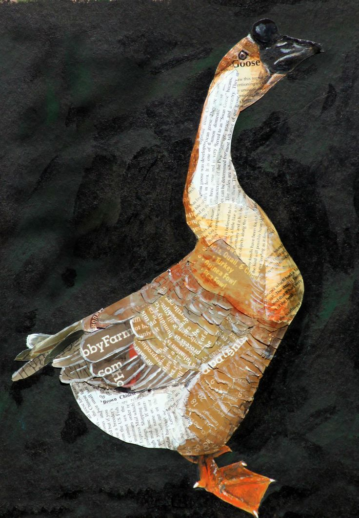 Brown Chinese Goose, created 2014 with magazines,  collage art, bird art, mixed media