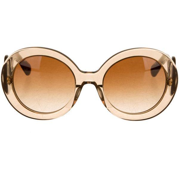 Prada Baroque Sunglasses ($175) ❤ liked on Polyvore featuring accessories, eyewear, sunglasses, round sunglasses, brown glasses, brown sunglasses, rounded sunglasses and prada eyewear