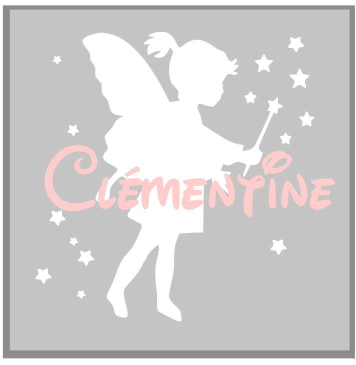 Toile avec prénom & silhouette fée fille / tableau personnalisé - Cadeau naissance panpan