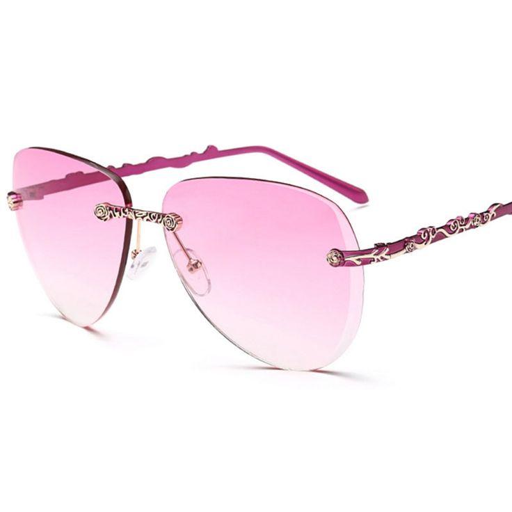 >> Click to Buy << Sunglasses Women Brand Designer Rimless Sunglasses Lentes Anteojos De Sol Mujer Luxury Retro Rose Gold Sun Glasses for Womens #Affiliate