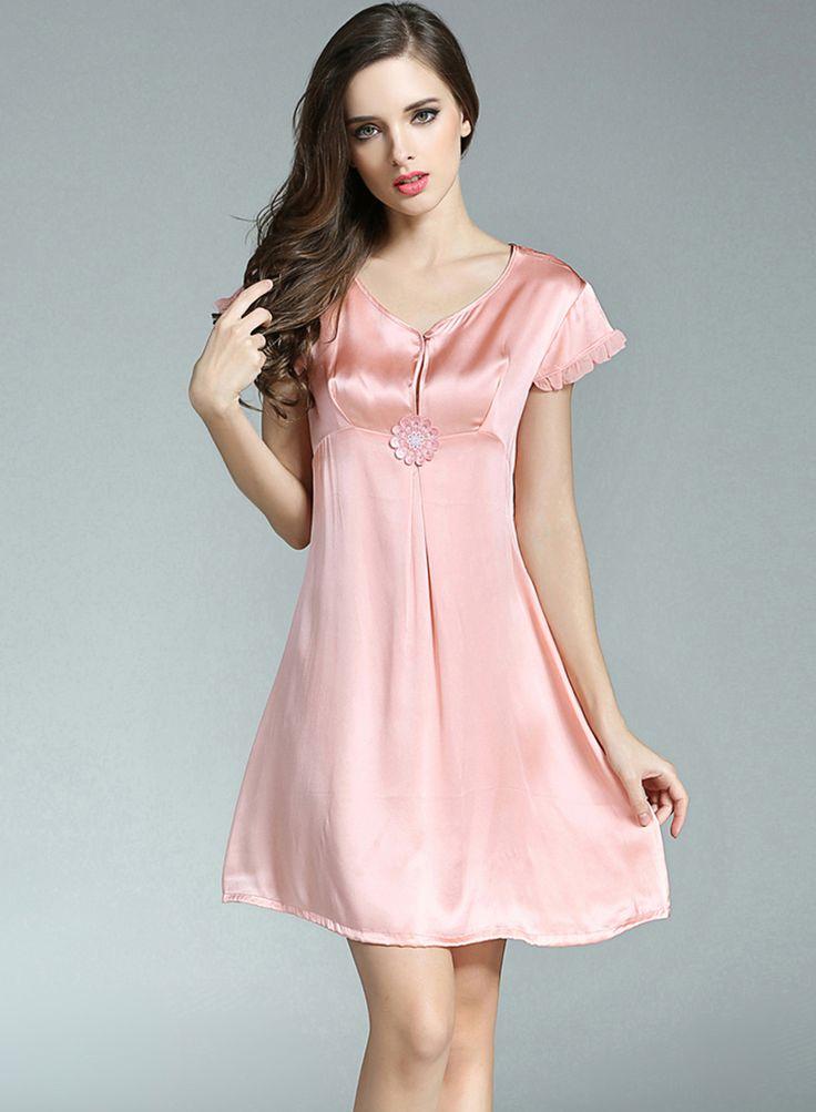 Short Satin Nightgown | Home > Silk Sleepwear > Silk Nightgowns for Women > Comfortable Short ...