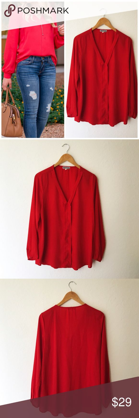Pleione Nordstrom Red Long Sleeve V-Neck Blouse Excellent preowned condition. Gorgeous red color is the perfect Top for not only the upcoming holidays, but for any season. *Note stock photo is for style inspiration and is not the actual item for sale* Pleione Tops Blouses