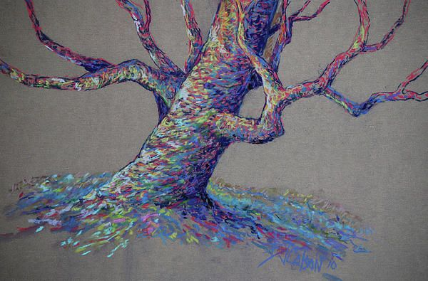 Here is one of my colorful trees. It's done with pastel pencils on a beige Wallis paper.