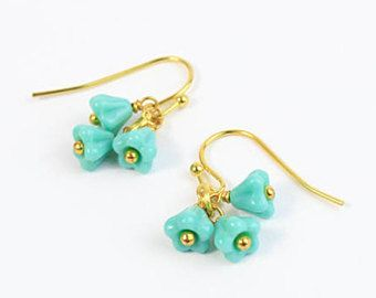 turquoise earrings 14k gold jewelry turquoise birthstone gift mom daughter gifts small gift/for/girlfriend wife gift petit earrings пя294
