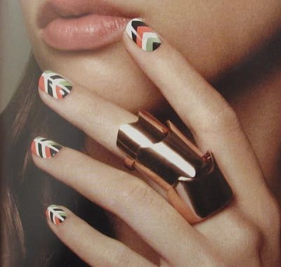Polish Art Addiction: Mint & Coral Chevrons
