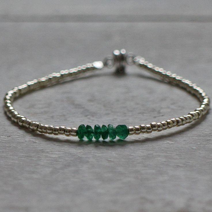 Tiny green quartz bracelet