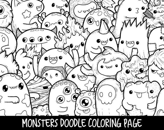 Monsters Doodle Coloring Page Printable   Cute/Kawaii ...