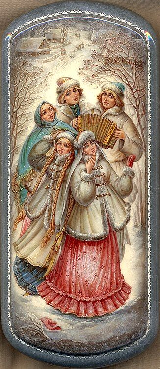 Russian lacquer miniature depicting a holiday in the village