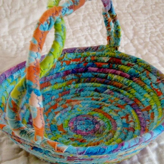 Batik Basket Fabric Coiled Easter Basket by NewEnglandQuilter