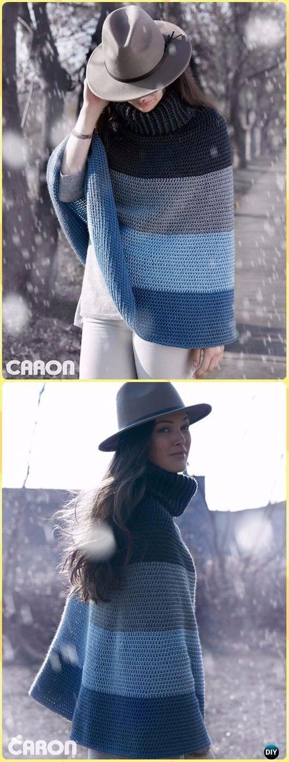 Crochet Cozy Cowl Cape Poncho Free Pattern - Crochet Women Capes & Poncho Patterns