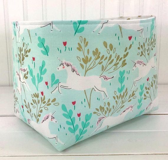 Fabric Basket Bin,Girl Nursery Decor,Diaper Storage,Organizer Bin,Fabric Basket,Unicorn,Mint Green,Gold,Light Pink,Unicorn Nursery