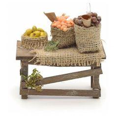 Tavolo con sacchi di juta presepe Napoli | vendita online su HOLYART
