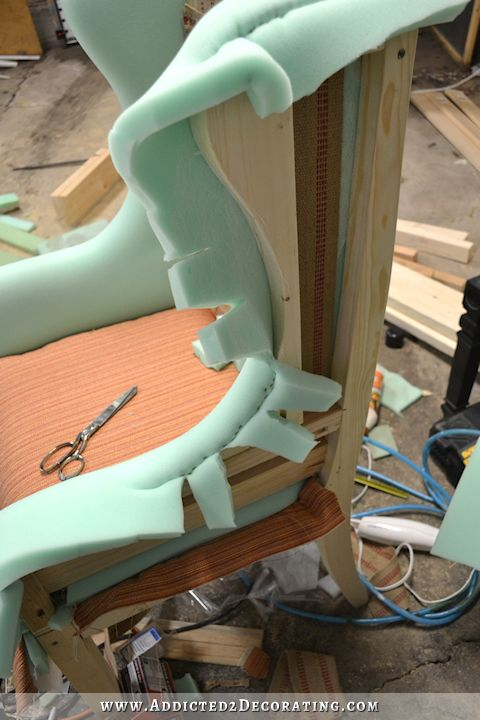 DIY wingback dining chair - how to upholster the chair frame - 40 #DIYHomeDecorFrames