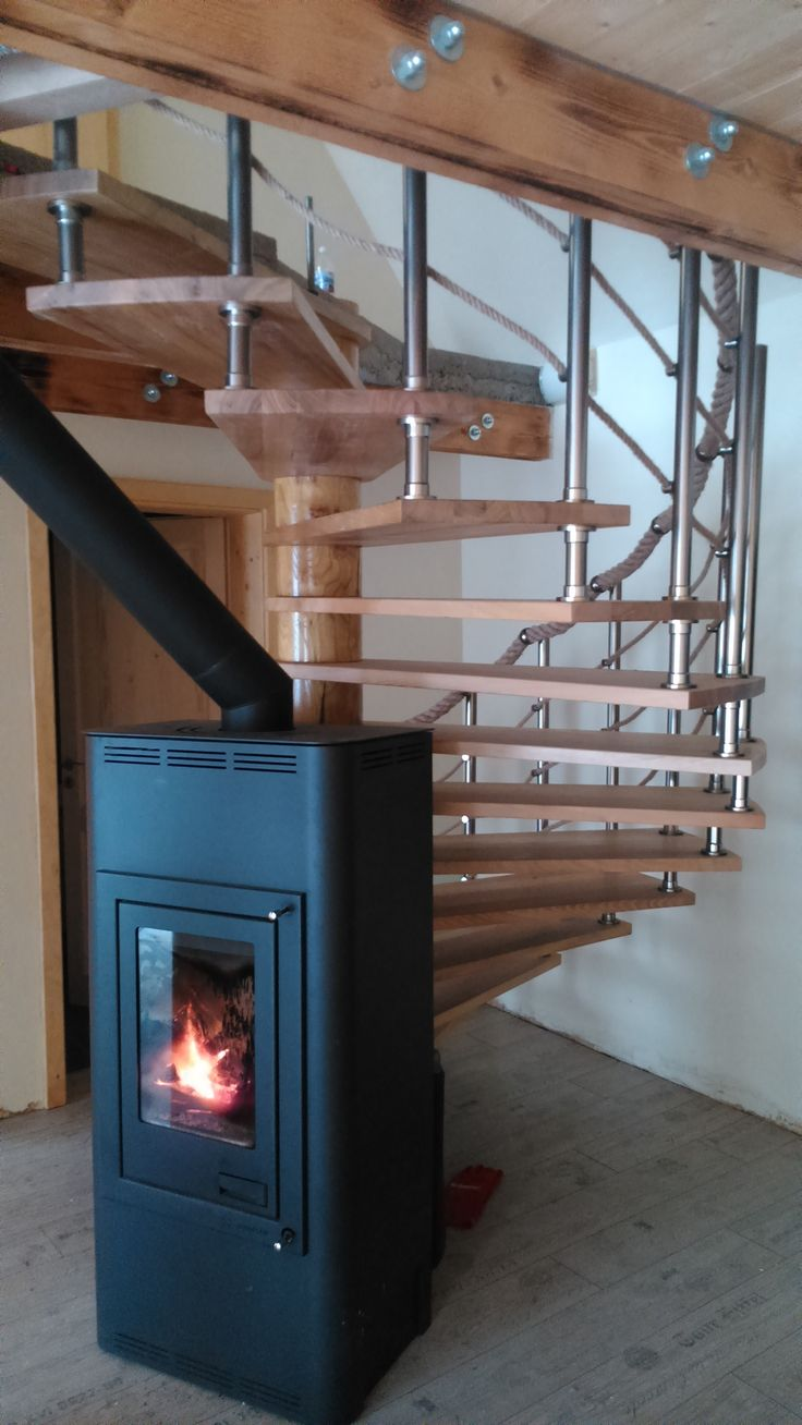 Wooden stair with a fireplace. Use the room you have.