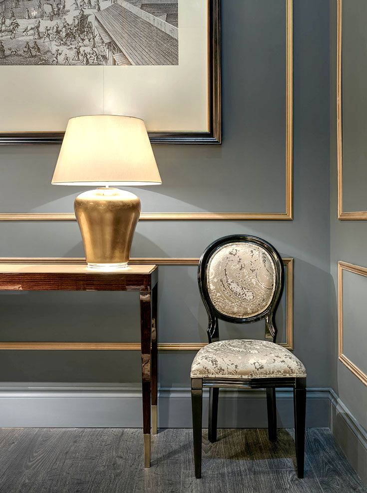 Heritage Collection - Strauss chair and Siena console with Marlene table lamp www.luxurylivinggroup.com #Heritage #LuxuryLivingGroup