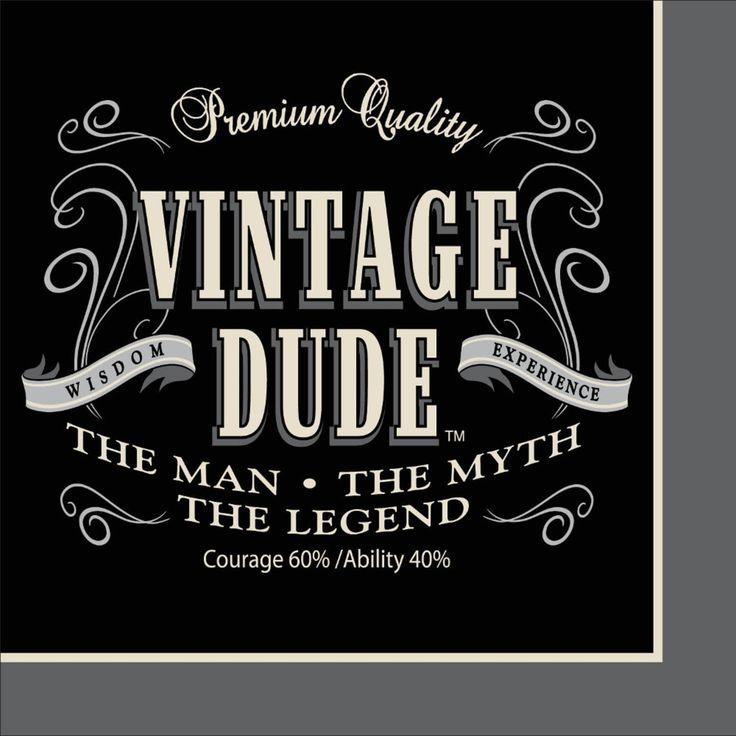 Club Pack of 192 Vintage Dude Premium 3-Ply Party Beverage Napkins 5, Black