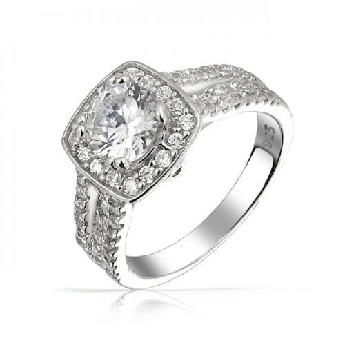Bling Jewelry Brilliant Cut CZ Scroll Engagement Ring Triple Shank 925 Silver