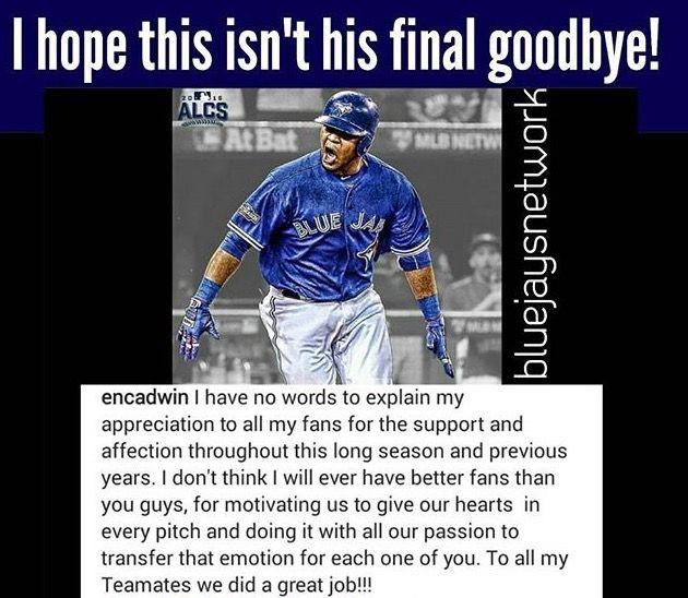 Edwing!!  I hope this isn't Edwin Encarnacion's final goodbye. :(  Toronto Blue Jays. MLB. Baseball.