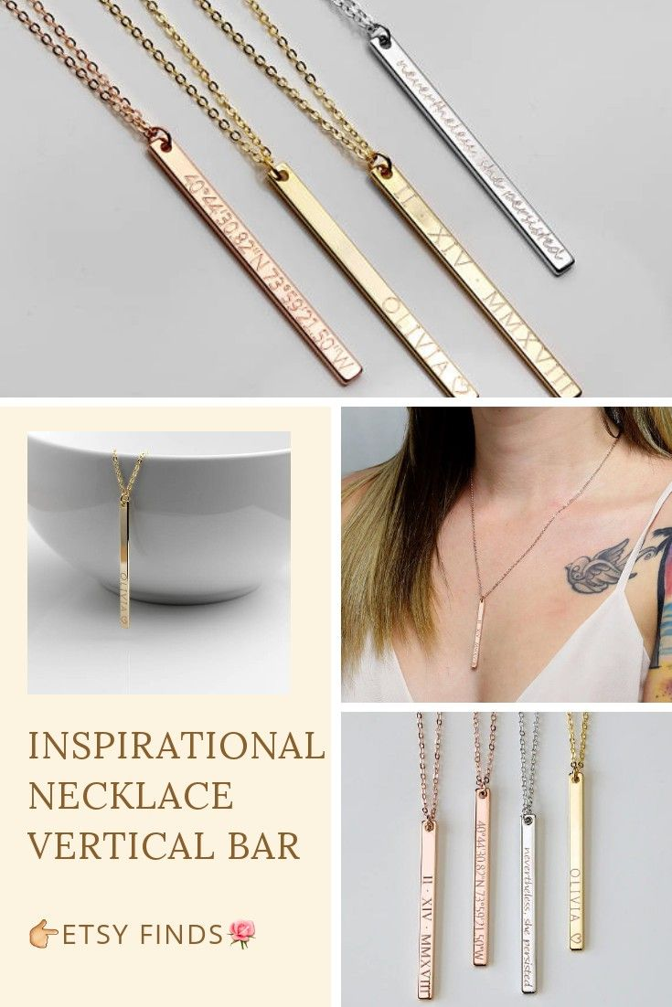 Inspirational Necklace Vertical Bar Necklace Personalized Necklace Coordinate Necklace Bridesmaid Gift Gold Necklace #necklace #personalized #bridesmaidgift #goldnecklace #jewelry #womensaccessories #ad