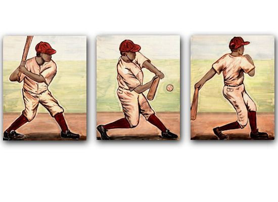 Vintage Baseball Batter Collection set of 3 by art4theLITTLEpeople, $16.00