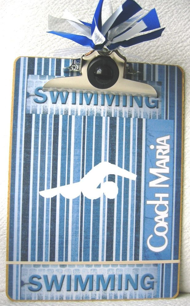 Swim Coach..custom clipboard school name and coach name added Free... We should do this for the coaches