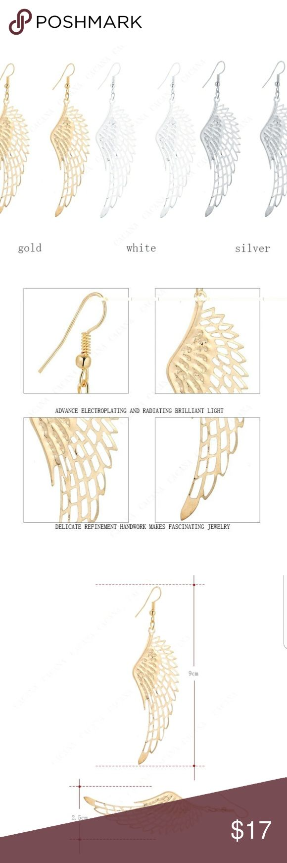4 PAIRS FOR  $17!   EARRINGS!! 😇 ANGEL WINGS!  Earrings are not heavy so they won't make you feel weighted down & no worries about stretching out your earlobes! Earrings are thin, lightweight Alloy metal. They are priced great! Bundle & save on shipping! Choose Gold or Silver in Options. Once you add 4 pairs to your bundle, submit offer for $17 & it will be accepted! Gold stock# 112 Silver Stock # 212 Jewelry Earrings
