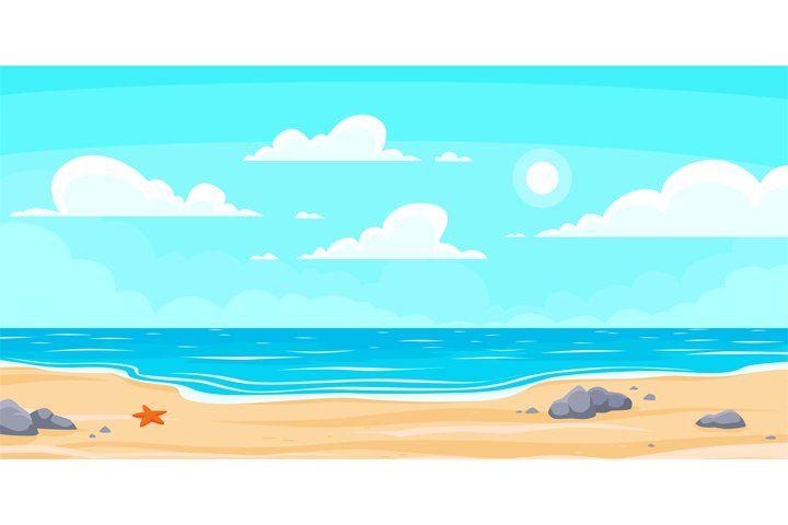 Cartoon Summer Beach Paradise Nature Vacation Ocean Or Sea 997531 Illustrations Design Bundles In 2021 Beach Scene Painting Landscape Background Summer Beach