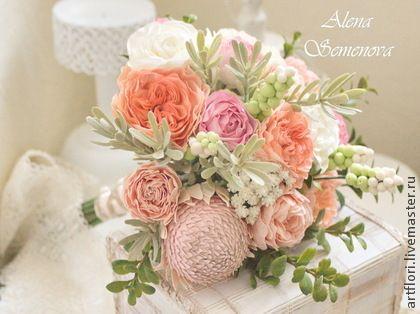 Букеты ручной работы. Ярмарка Мастеров - ручная работа Букет невесты из пионов, роз и протеи.. Handmade.
