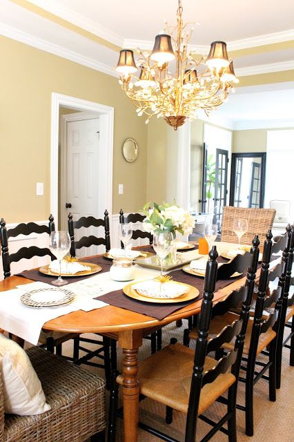 Black ladder back chairs in my dining room- Antique dining chair re-do